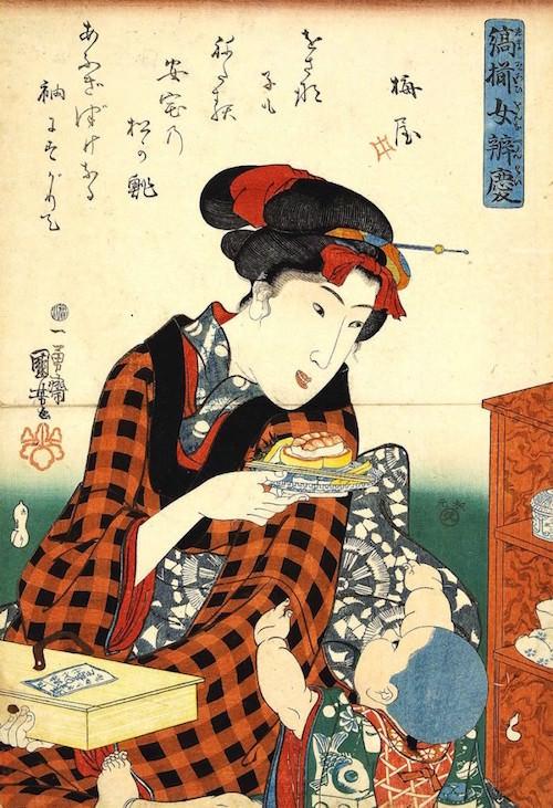 『縞揃女弁慶 松の鮨』(歌川国芳 画)