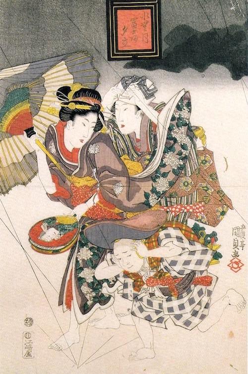 『水無月富士の夕立』(部分/歌川国貞 画)