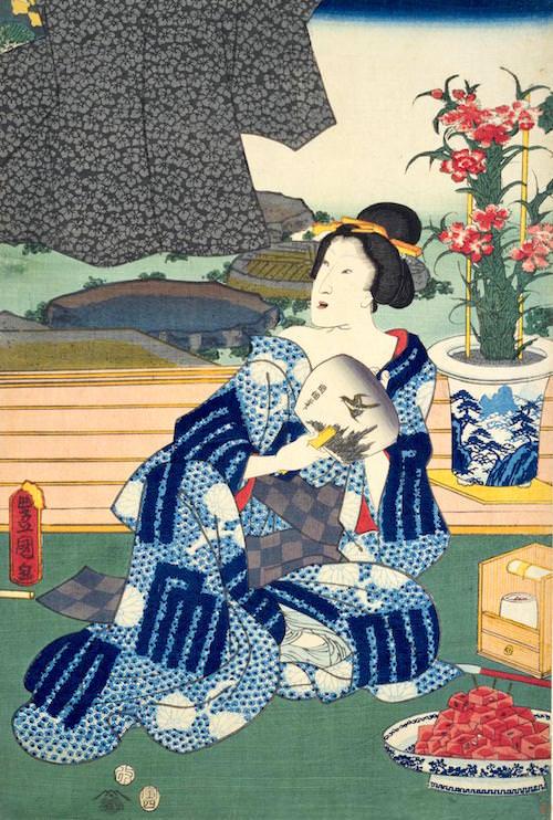 『十二月之内 水無月 土用干』(部分/三代歌川豊国 画)