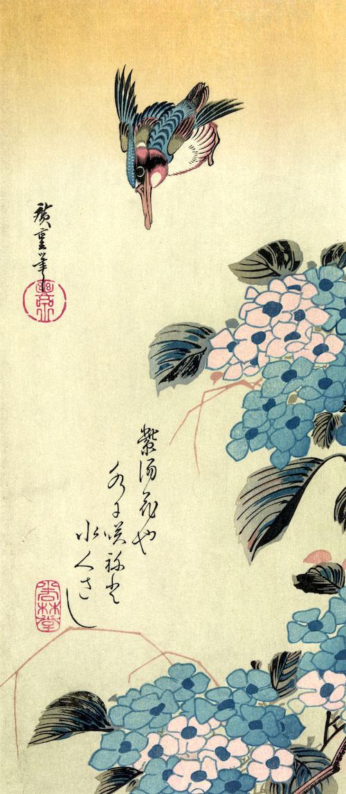 『紫陽花と翡翠(かわせみ)』(歌川広重 画)