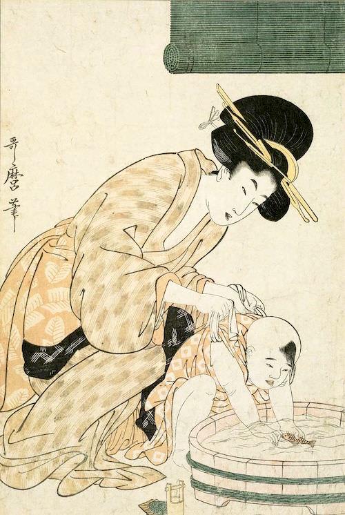 「母と子 水遊び」(喜多川歌麿 画)
