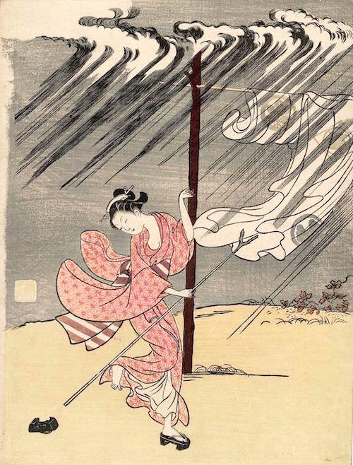 「雨中の美人」(鈴木春信 画)