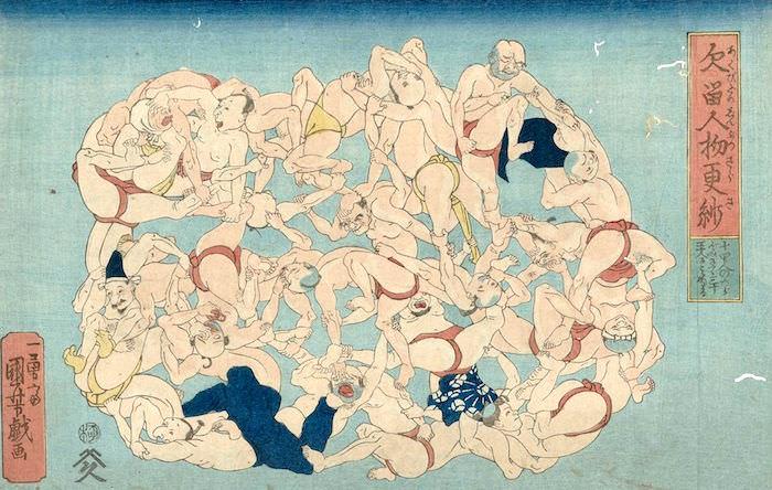 『欠留人物更紗(あくびどめじんぶつさらさ)』(歌川国芳 画)