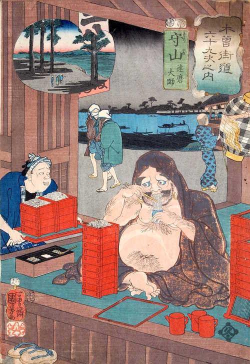 『木曽海道六十九次之内 六十八 守山』(歌川国芳 画)