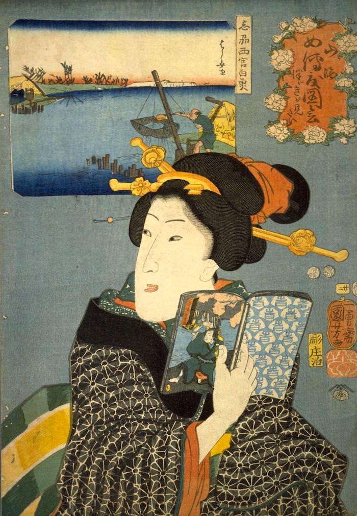 『山海愛度図会 つづきがよみたい』(歌川国芳 画/1852年)の拡大画像
