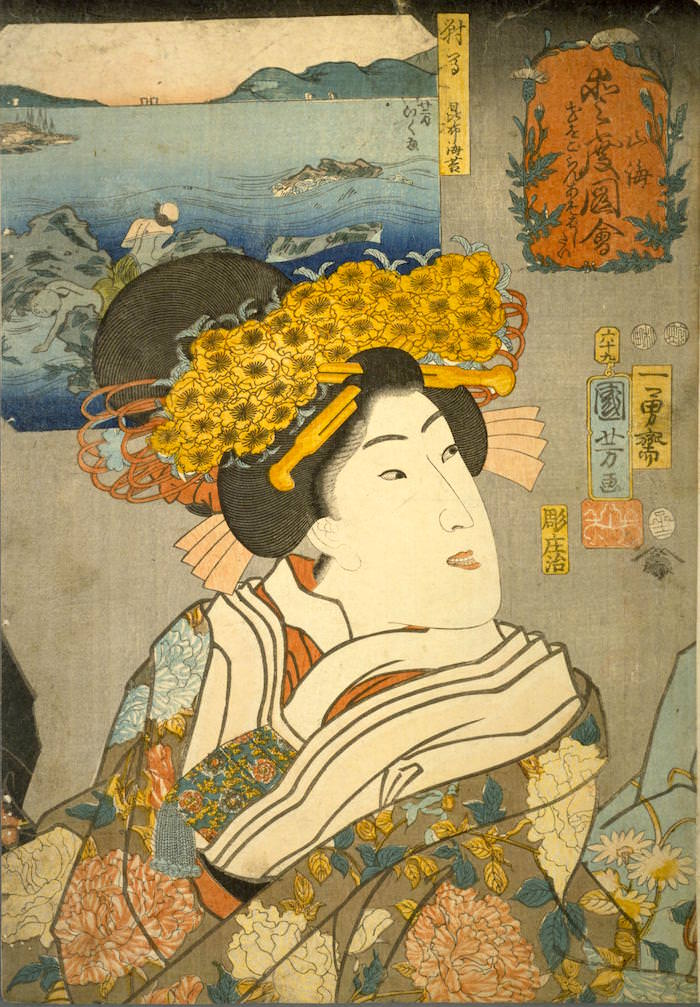 『山海愛度図会 花をごらんあそばしたい』(歌川国芳 画/1852年)の拡大画像