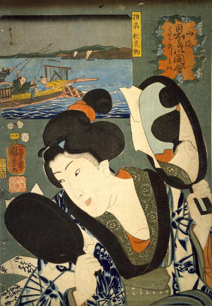 『山海愛度図会 くせが直したい』(歌川国芳 画/1852年)の拡大画像