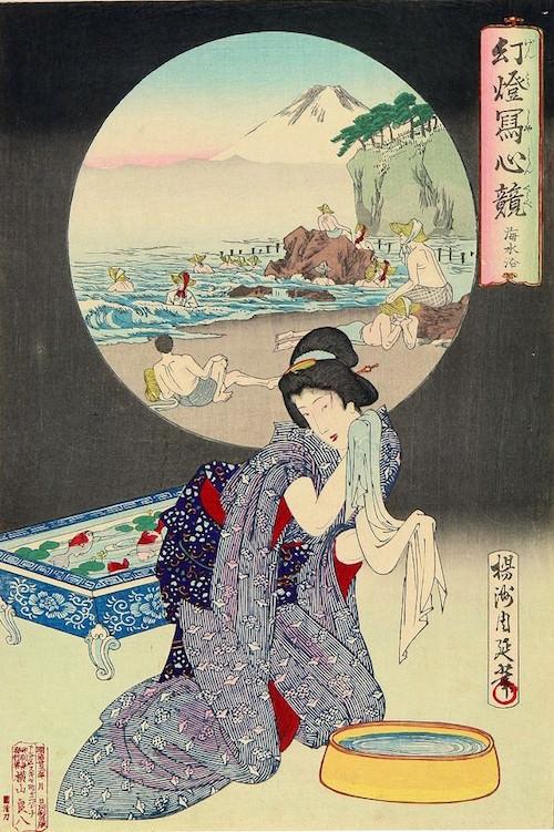 『幻燈写心競 海水浴』(揚州周延 画/1890年)