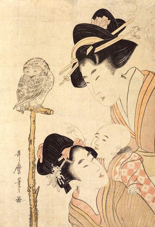 「美人と梟」(喜多川歌麿 画)