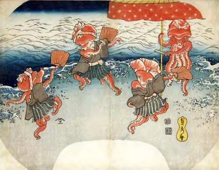「タコの踊り」(歌川貞秀 画)