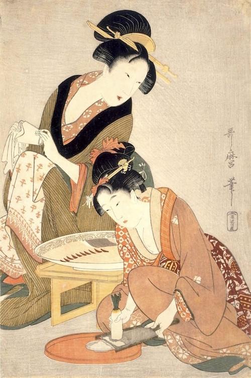 「料理をする母娘」(喜多川歌麿 画)
