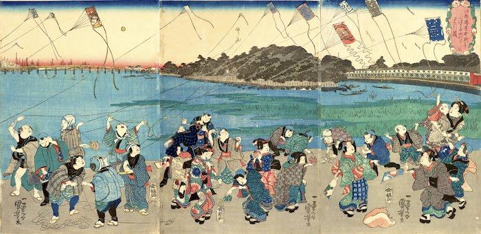 『江都勝景中洲より三つまた永代ばしを見る図』(歌川国芳 画)