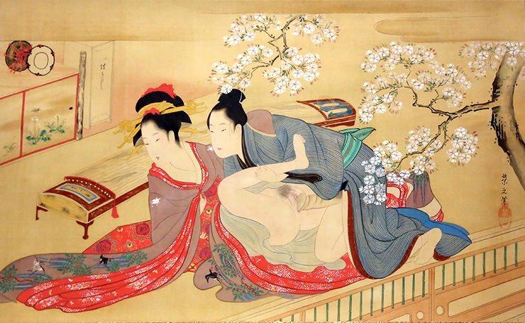 肉筆春画の傑作『春の戯れ』(鳥文斎栄之 画)の拡大画像