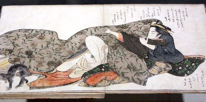 江戸時代の春画『会本拝開夜婦子取』より(勝川春章 画)