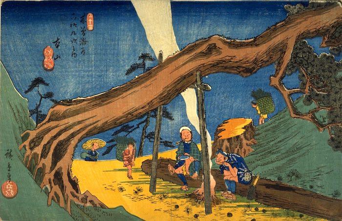 『木曽海道六拾九次之内 本山』(歌川広重 画)