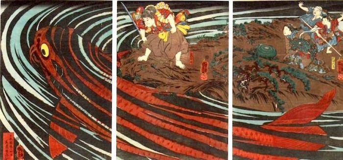 『鬼若丸の鯉退治』(歌川国芳 画)
