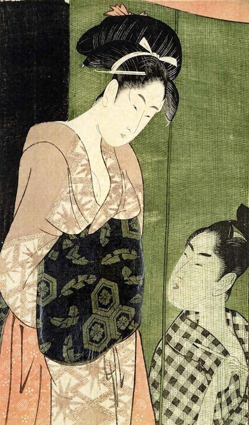 『蚊帳の内外』(喜多川歌麿 画)