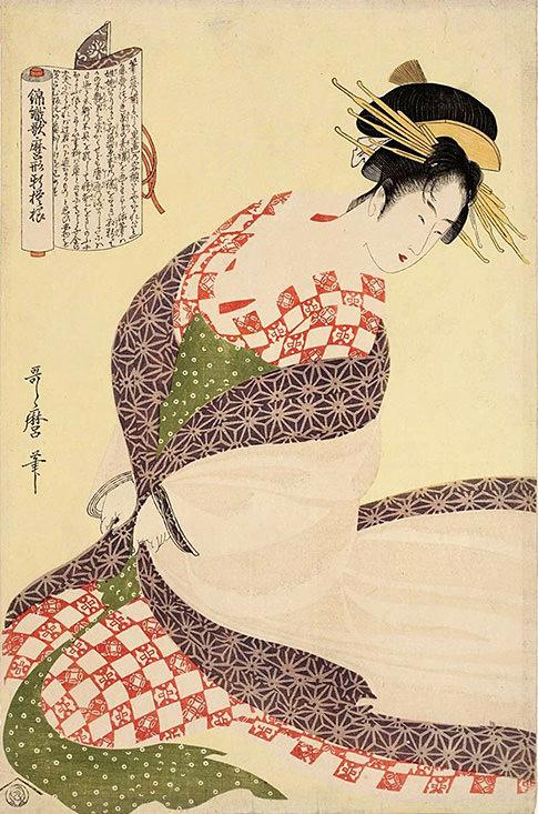 『錦織歌磨形新模様』「白うちかけ」(喜多川歌麿 画)