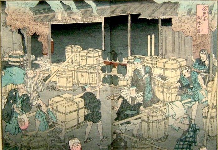 江戸時代の火葬場(『項痢(コロリ)流行記』(仮名垣魯文 著)の口絵)
