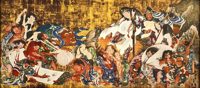 疫病神たちと須佐之男命(スサノオノミコト)(葛飾北斎 画)