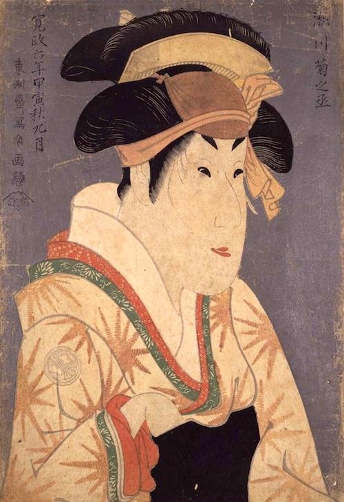 Actor Segawa Kikunojô III as Oshizu, Wife of Tanabe Bunzô